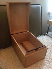 Vintage wood wooden Oak Tray Document File Box dovetailed
