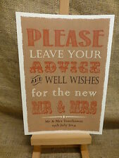 Rustic Kraft Card Style GUEST BOOK SIGN A4 PERSONALISED WEDDING WISH TREE SIGN