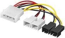 Lüfter Adapter Kabel Netzteil auf 4x Molex 3-Pin 5 V + 12 V