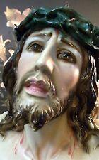 Vintage Jesus Saint Christo De Limpias Ecce Homo Chalkware Statue Passion Christ