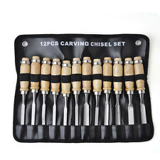 12X WOOD Carving Chisel Set Hand Woodworking DIY Tool Knife Professional Gouges.