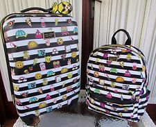 "Betsey Johnson Luggage Emoji 21"" Hardside Roller Wheels & Backpack Bag Set NWT"