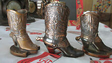 3 Unique Vintage Metal Cowboy Boots with Spur for Lighter~Cigarettes~Toothpicks?