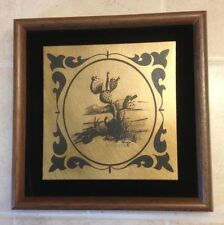 Prickly Pear Cactus Etched in Metal by C M (Mike) Henderson, Texas, Signed Decor