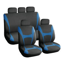 Blue and Black, Executive Car Seat Covers, Front & Rear: Plush Velour (8 Piece)