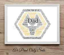 Personalised Football Wolves fan Wordart print Gift Birthday Keepsake