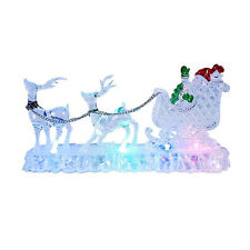 Light Up LED Acrylic Santa Sleigh Reindeer Christmas Table Ornament Decoration