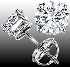 1.61 CT FG  VS  GENUINE ROUND DIAMOND STUD EARRINGS 14K WHITE GOLD 100% NATURAL