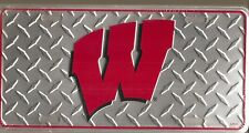 Wisconsin Badgers Metal Car Tag Automobile License Plate Diamond Style