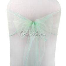 "New 50 Mint Green 7"" x 108"" Organza Chair Sashes Wedding Anniversary Party Decor"