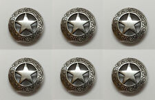"Set of 6 WESTERN SADDLE HEADSTALL ANTIQUE RANGER STAR CONCHOS 1-1/8"" screw back"