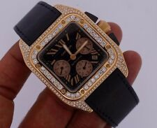 Cartier Santos 100 XL Chronograph 18K Rose Gold Iced Out With 700 Diamonds VS2