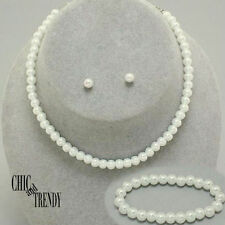 3 PC CHILDRENS FLOWER GIRL  WEDDING OFF WHITE PEARL NECKLACE JEWELRY SET