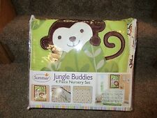 Summer Infant Jungle Buddies 4 Piece Nursery Crib Bedding Set Sheet Monkey New