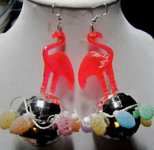 BIG UGLY PINK FLAMINGO & 70s 925 EARRINGS SILVER DISCO BALL CANDY PARTY Lights