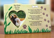 Dog Memorial Sympathy Picture Paw Print Pet Photo Frame Ceramic Plaque NEW