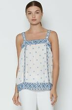 00508 NWT $298 Joie Magali Embroidered Top White Cotton Smocked Tunic L 10