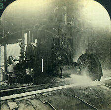 Stereoview Photo Pittsburgh PA Red Hot Steel Beam Being Rolled & Cut