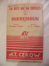 Partition Les Mots sont des caresses Indécision AT Cekow 1950