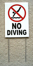 """NO DIVING with Symbol  8"""" x12"""" Plastic Coroplast Sign with Stake"""