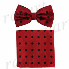 New Men's Microfiber Pre-tied Bow Tie & Pocket Square Hankie Red / Black Dots