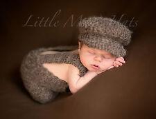 Newborn/Baby Crochet Brown Suspenders and Hat Set Photo Prop