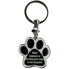 Paw Print Key Chain Fob What Happens in the Dog Park, Stays in the Dog Park