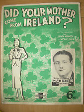 VINTAGE SHEET MUSIC - DID YOUR MOTHER COME FROM IRELAND PIANO & LYRICS 1936