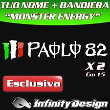 """ADESIVI FONT MONSTER ENERGY """"TUO NOME"""" + BANDIERA PERSONALIZZATO MOTO"""