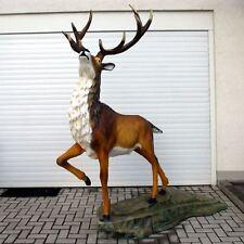 HIRSCH auf Felsen 245 cm lebensgroß Deko Tier Figur Garten ROTHIRSCH DEKORATION