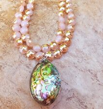ABALONE PAUA BIG PEARL PENDANT SEA OPALS NECKLACE CZECH GLASS SWEET PINK BRIDAL