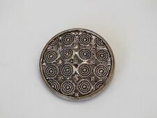 """Antique Silver Metal Ornate  Button - 1.2"""" Raised Shank Back"""