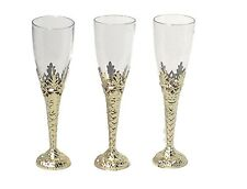 "12 Clear Plastic gold Bottom Champagne Flutes 8"" tall drinking glasses 4 oz"
