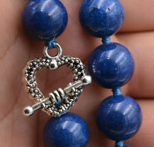 12mm Natural lapis lazuli gemstone jewelry necklace Tibetan silver love claspS