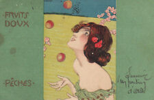 Raphael Kirchner Girl With Peaches Original Antique Postcard