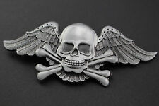 ANGEL WINGED CROSSED BONES SKULL BELT BUCKLE PUNK LARGE GOTHIC GREY