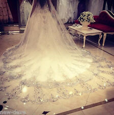 Hot Luxury Ivory 3M 1T Rhinestones Purfles Cathedral Bridal Wedding Veils Newest