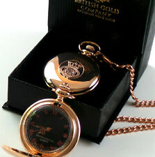 MERCHANT NAVY 18ct GOLD Clad Pocket Watch Gift Box with Chain Crest Badge Emblem