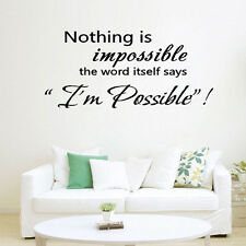Hot Nothing Is Impossible Wall Art Inspirational Quotes Home Decor Decal Sticker