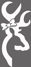 "DEER BROWNING BOW VINYL CAR DECAL/STICKER, HIGHEST QUALITY, WHITE, 7.7"" x 3.5"""
