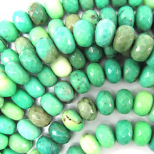 "10mm faceted green chrysoprase rondelle beads 7.5"" strand"