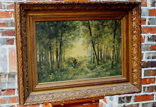 Antique Dutch Framed Oil on Canvas Painting Woman Trees Windmill Farm