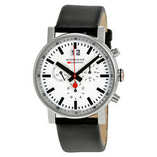 Mondaine Evo Big Chronograph White Dial Black Leather Mens Watch