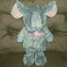 KellyToy ELEPHANT 16in Grey Soft Plush Pink Nylon Bow Pink Inner Ears Foot Pads