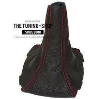 FOR SCION TC 2005-10 MANUAL GEAR GAITER BLACK ITALIAN LEATHER RED STITCHING
