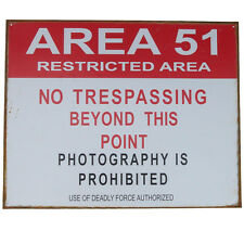 US AREA 51 vintaged tin sign RESTRICTED NO TRESPASSING