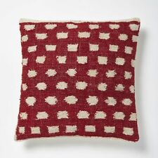 "NEW West Elm Pair (2) of Wool & Canvas Pillow Covers Bold Dot Red 18"" square"