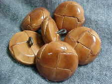 VTG 6 ANTIQUE BROWN DOME WOVEN LEATHER MOLDED BUTTONS 24 line 17mm back