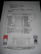 1999 FA Cup Final Manchester United v Newcastle United Matchsheet