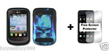 For LG 306G Hybrid Phone Cover Case + Free Screen Protector Blue Skull